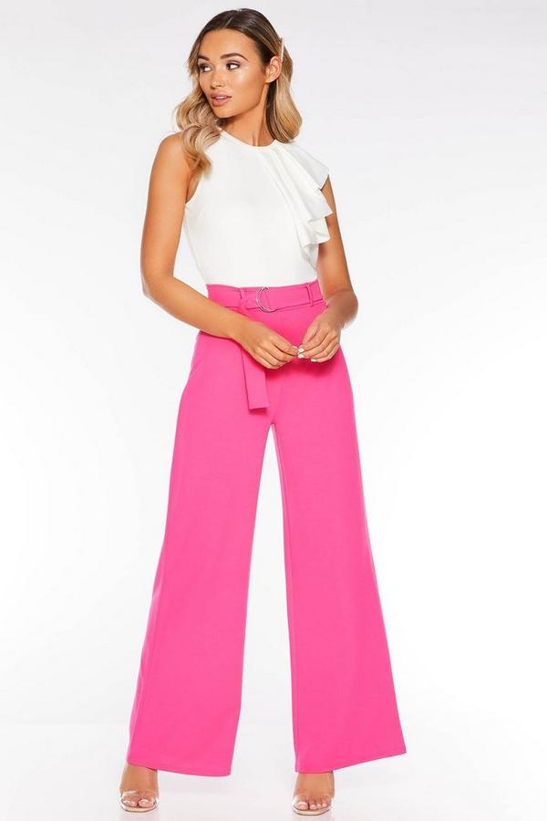 Hot Pink Belted Palazzo Trousers