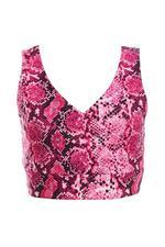 Cerise Pink Snake Print Wrap Crop Top