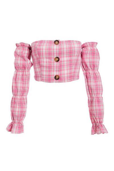 Pink Grey and White Check Bardot Puff Sleeve Top