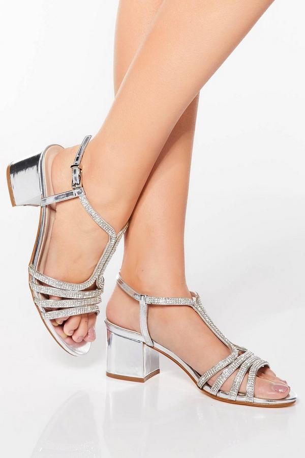 Silver Diamante Strap Block Heel Sandals
