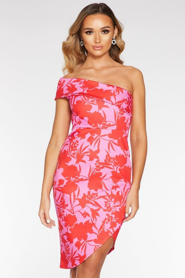Pink And Red Asymmetrical Midi Dress