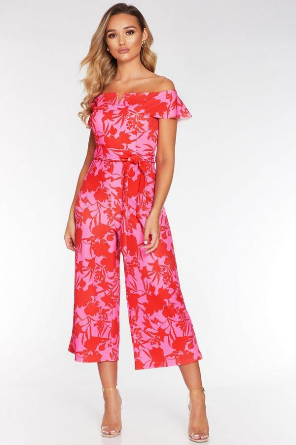 Pink and Red Bardot Frill V Bar Culotte Jumpsuit