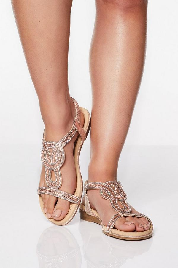 Wide Fit Rose Gold Shimmer Diamante Flat Sandals