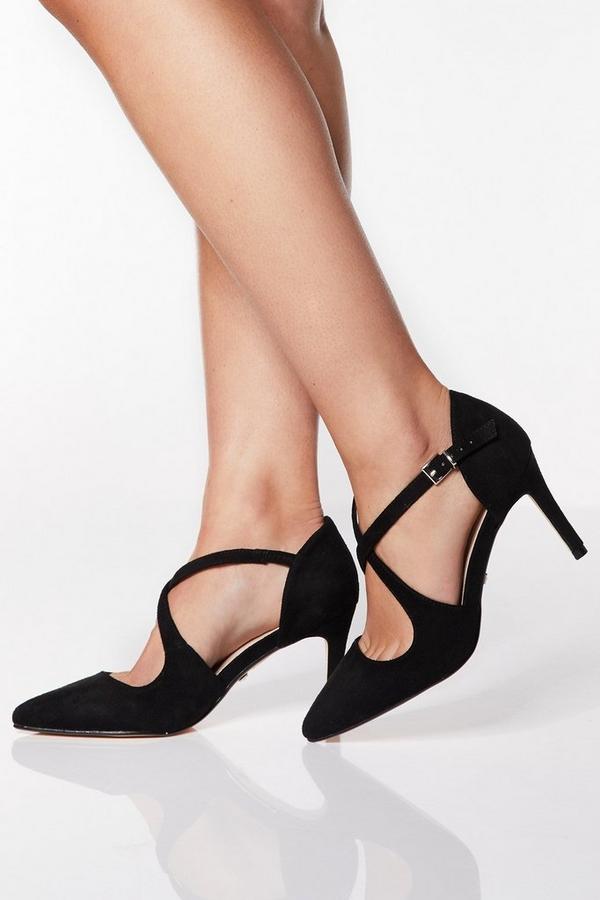 Wide Fit Black Cross Strap Heels