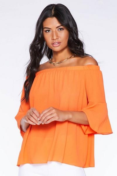 Orange Bardot Flute Sleeve Top