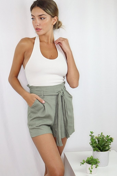 Khaki Linen Paper Bag Shorts