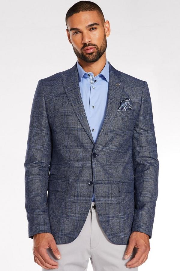 Mid Blue Regular Fit Check Blazer