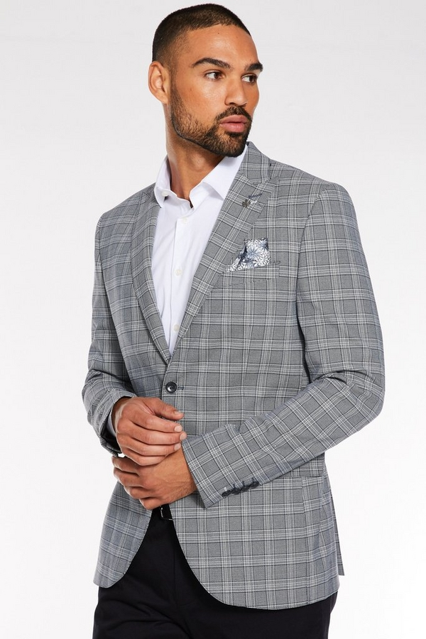 Regular Fit Blazer in Grey with Check Detail