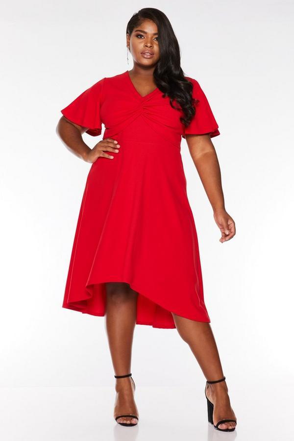Curve Red Knot Front Dip Hem Midi Dress
