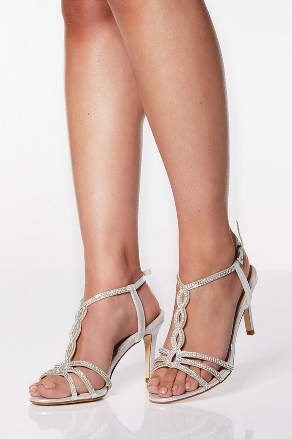 Wide Fit Silver Shimmer Diamante Loop Sandals