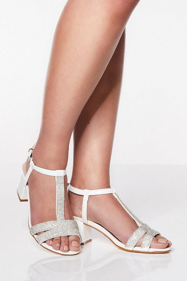 Wide Fit White Diamante Low Block Heels