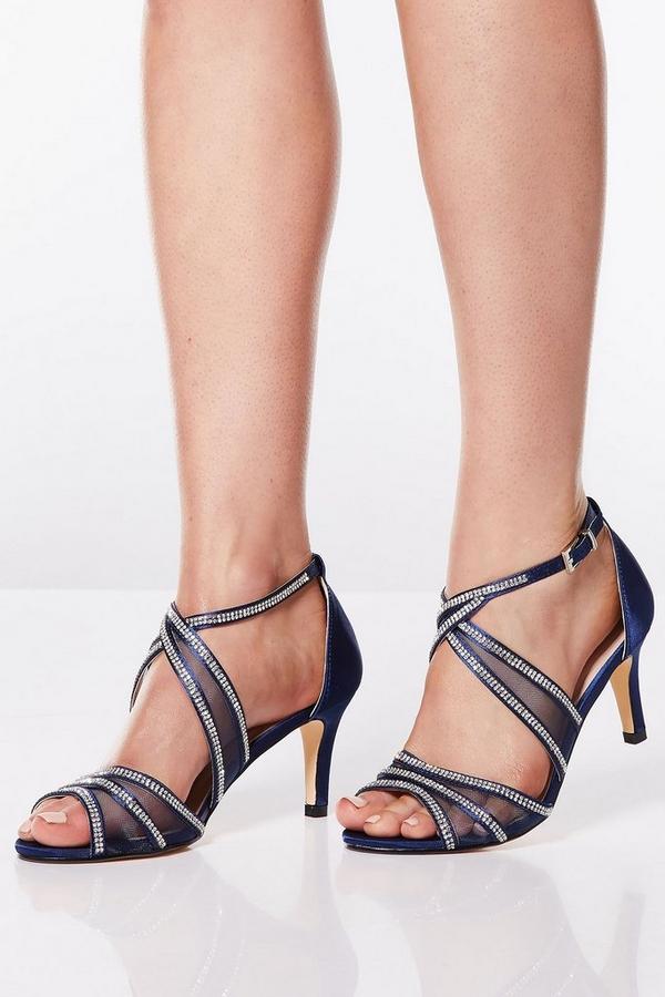 Wide Fit Navy Satin Diamante Mesh Low Heel Sandals