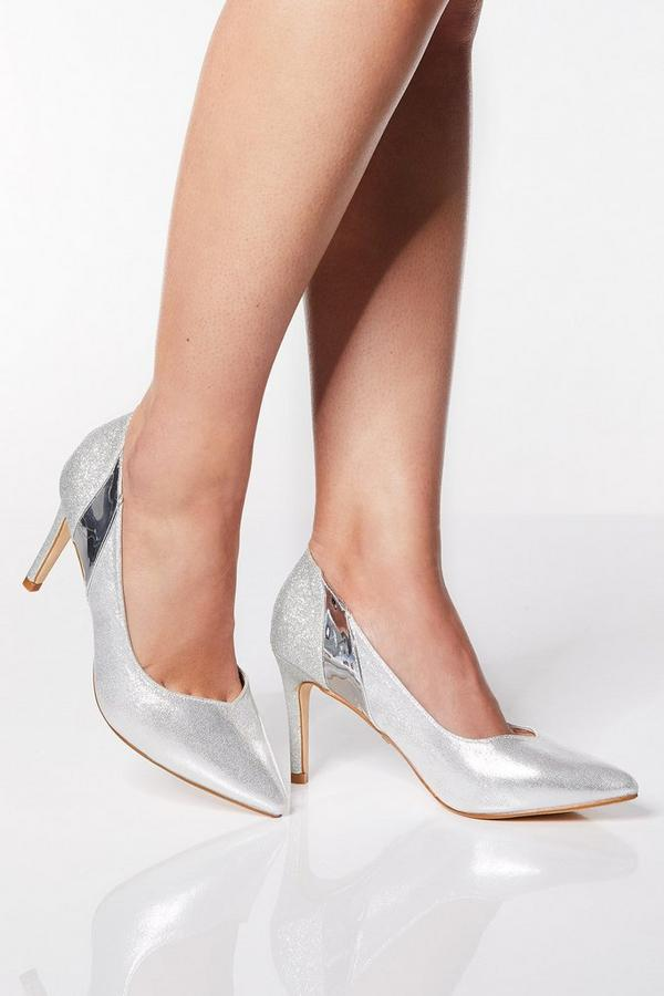 Wide Fit Silver Metallic Mid Heel Court Shoes