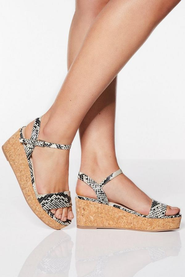 Wide Fit Stone Snake Print Cork Wedges