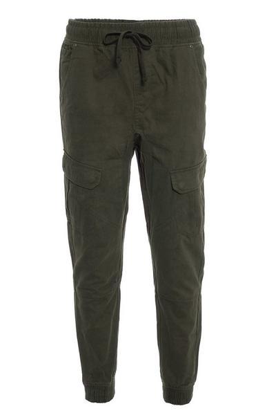 Khaki Cuffed Cargo Pants