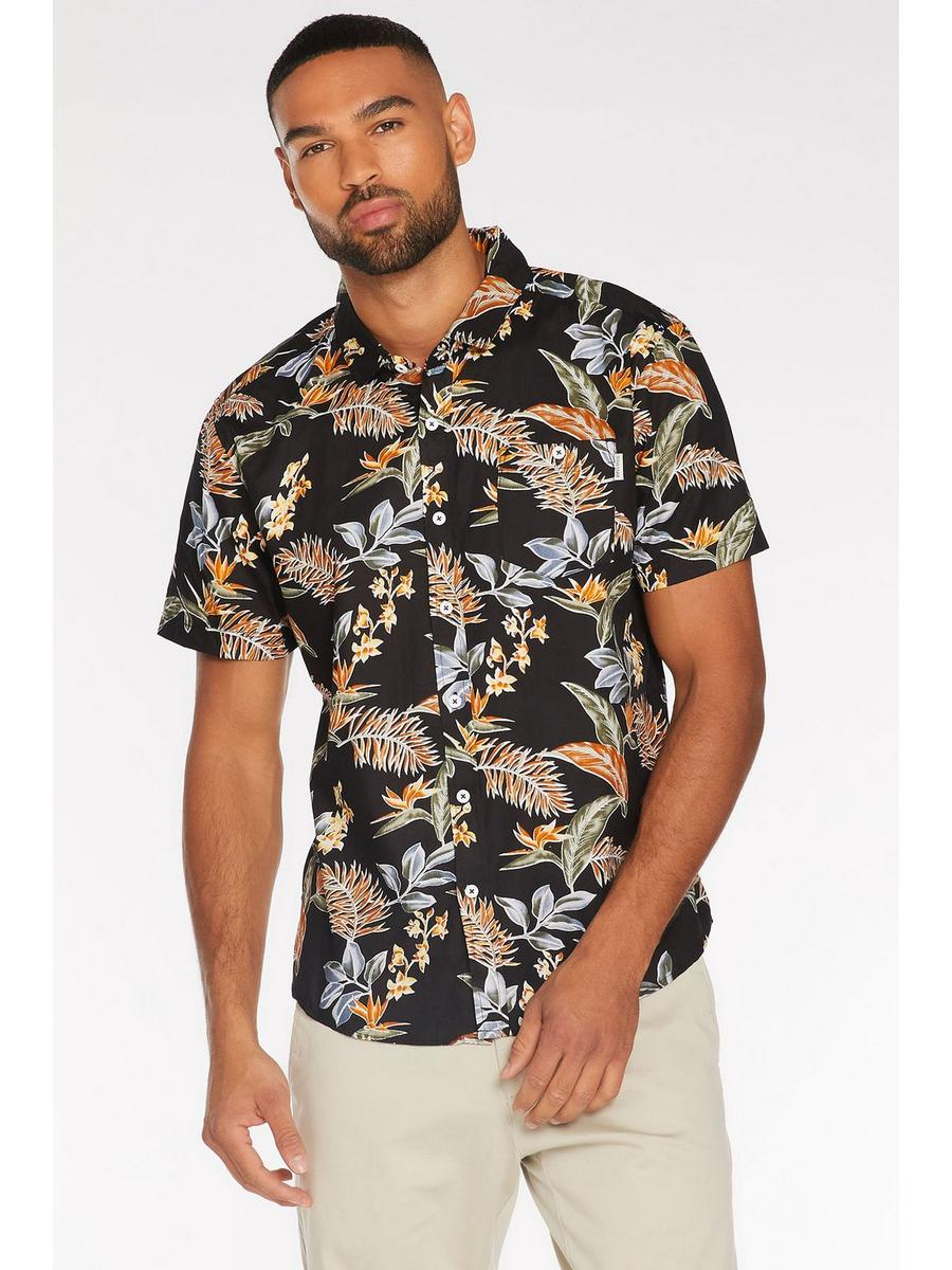 All Over Printed Floral Shirt in Black