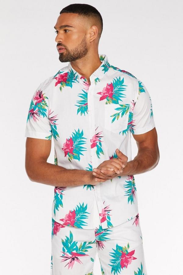 Tropical Print Shirt in White