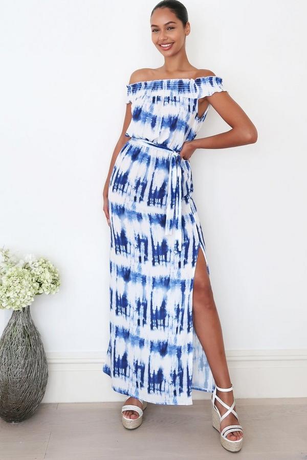 Blue Tie Dye Bardot Maxi Dress