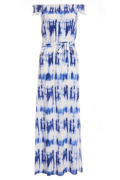 White and Blue Tie Dye Bardot Maxi Dress