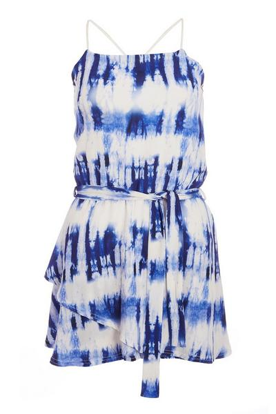 White and Blue Tie Dye Cross Back Playsuit
