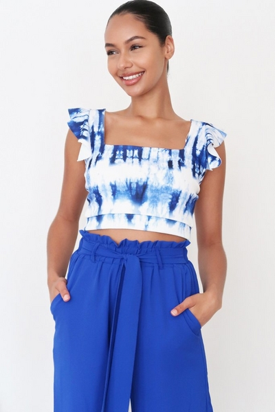 Blue Tie Dye Crop Top