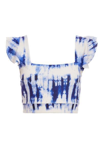 White Tie Dye Crop Top