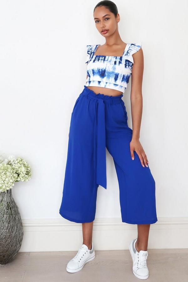 Royal Blue Paper Bag Culotte Trousers