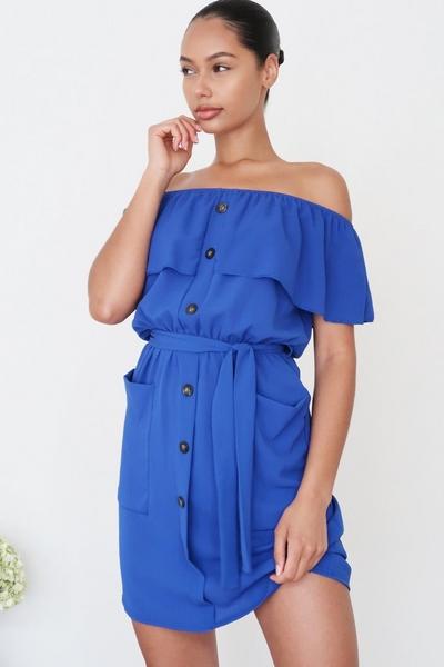 Royal Blue Bardot Button Front Dress