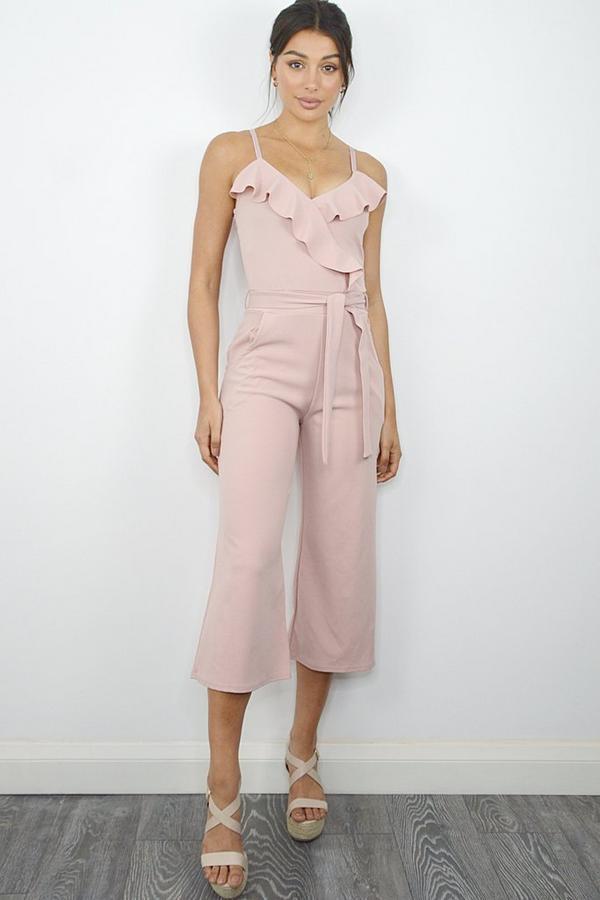 Dusky Pink Frill Culotte Jumpsuit