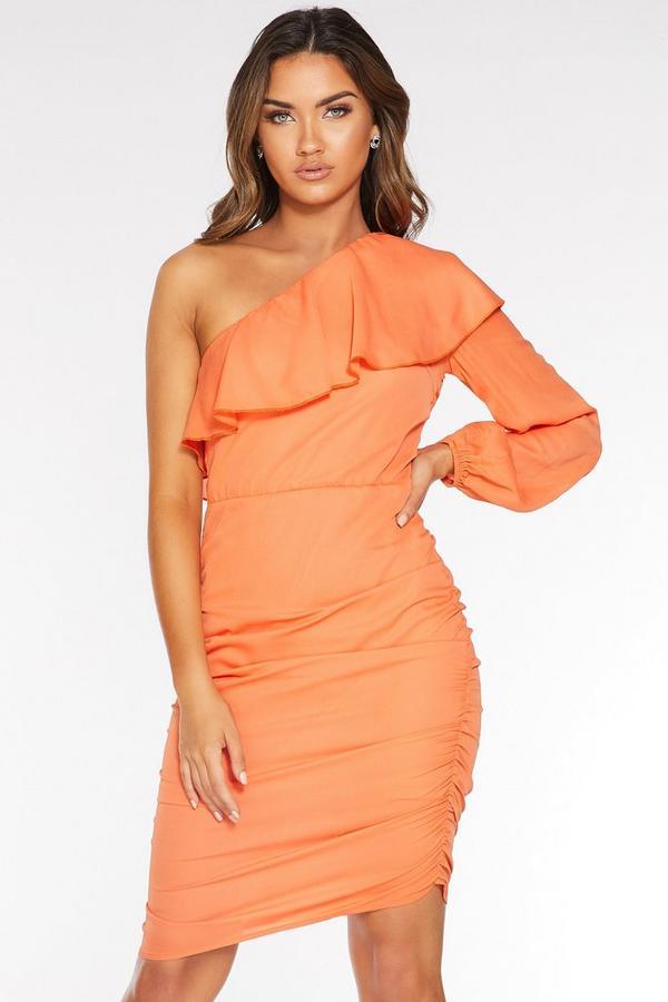 Orange Long Sleeve Bodycon Dress