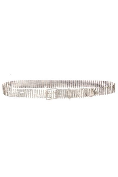 Silver Diamante Square Buckle Belt