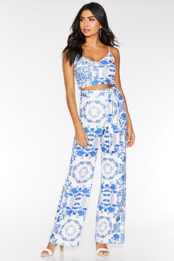 Royal Blue and White Tile Print Palazzo Trousers