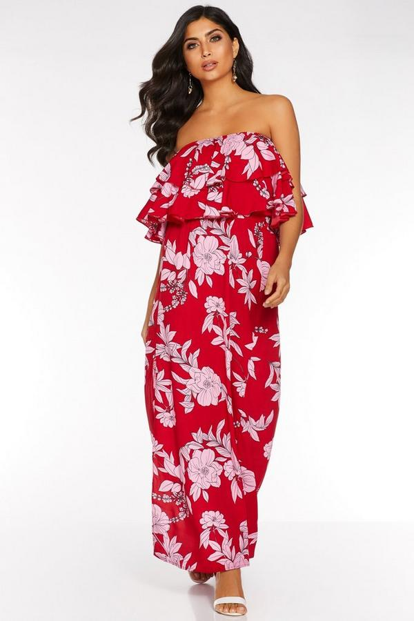 Red and Pink Floral Print Frill Maxi Dress
