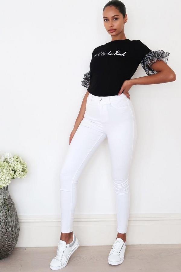 White Stretch Denim Skinny Jeans