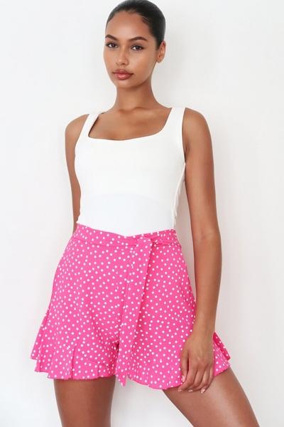 Pink and White Polka Dot Frill Shorts