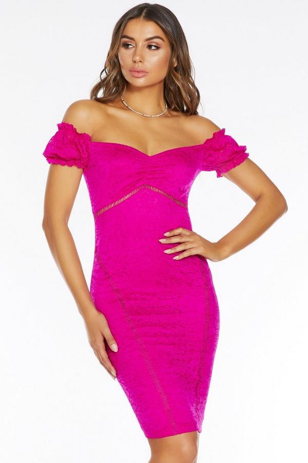 Fuchsia Lace Bardot Puff Sleeve Midi Dress
