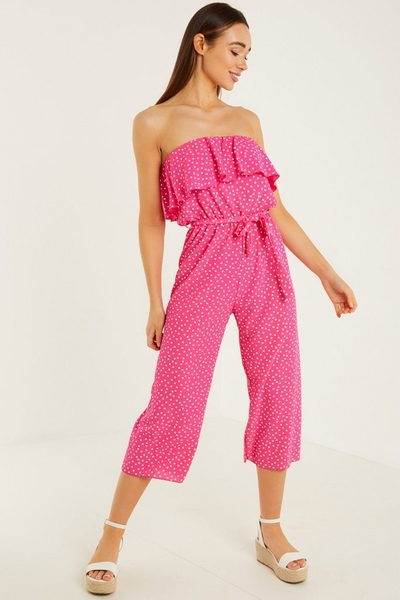Pink and White Polka Dot Culotte Jumpsuit