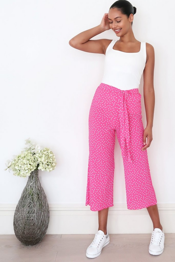 Pink and White Polka Dot Culotte Trousers