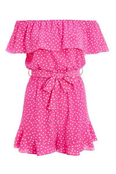 Pink and White Polka Dot Bardot Playsuit