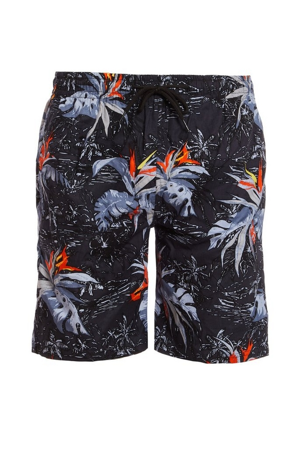 Leaf Print Shorts in Black