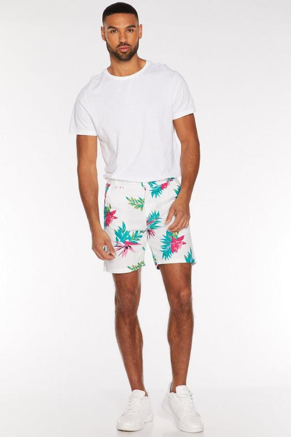 Tropical Print Shorts in White
