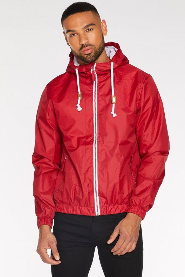 Lightweight Hooded Bomber Jacket in Red