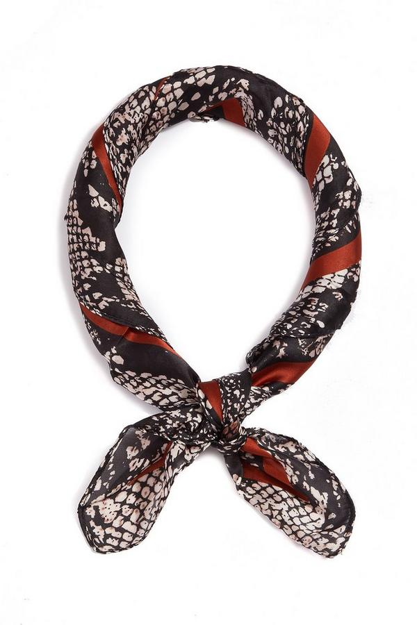 Black And Brown Snake Print Neck Scarf