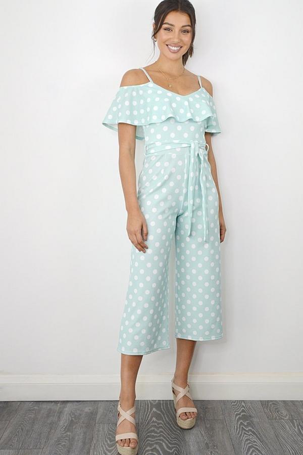 Mint Polka Dot Frill Culotte Jumpsuit