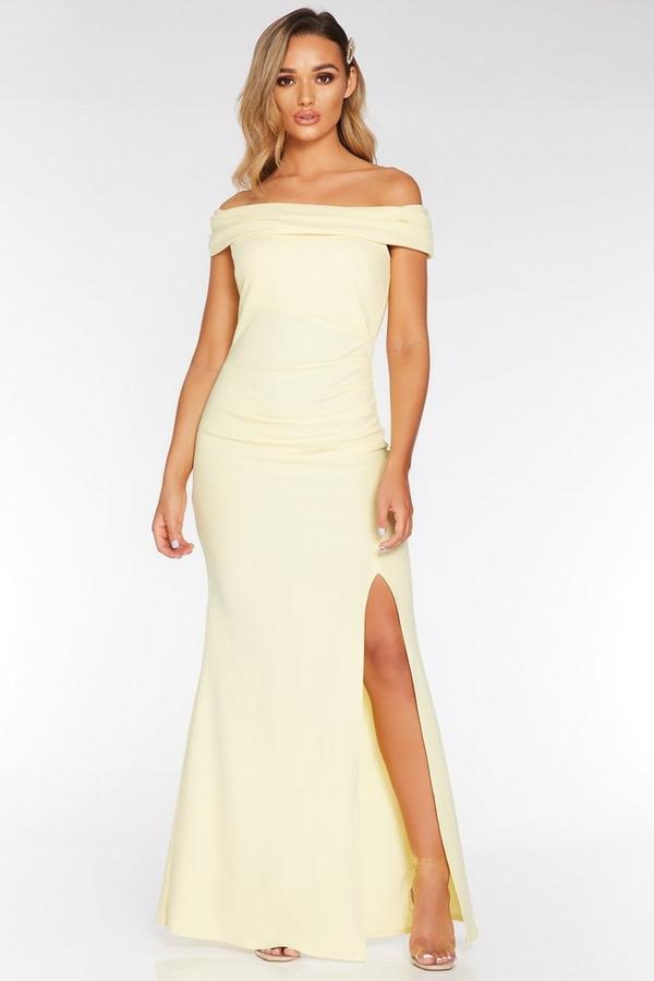 Lemon Bardot Ruched Split Maxi Dress