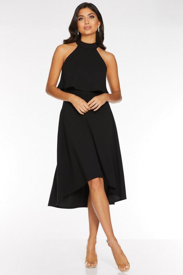 Black High Neck Dip Hem Dress