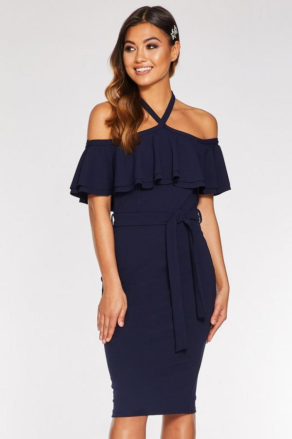 Navy Halterneck Double Frill Midi Dress