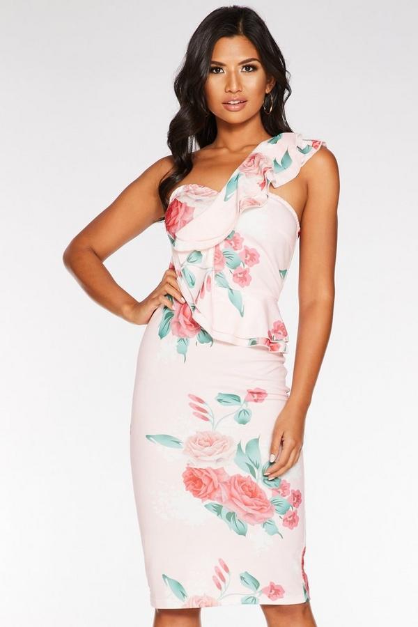 Pink Floral One Shoulder Frill Midi Dress