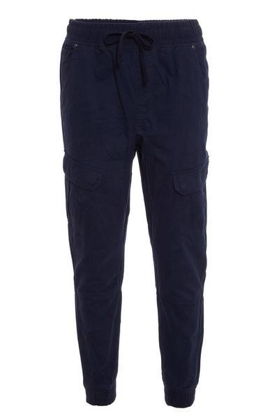 Navy Cuffed Cargo Pants