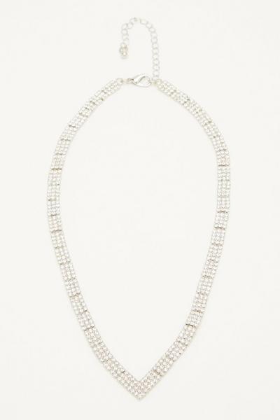 Silver Diamante V Necklace